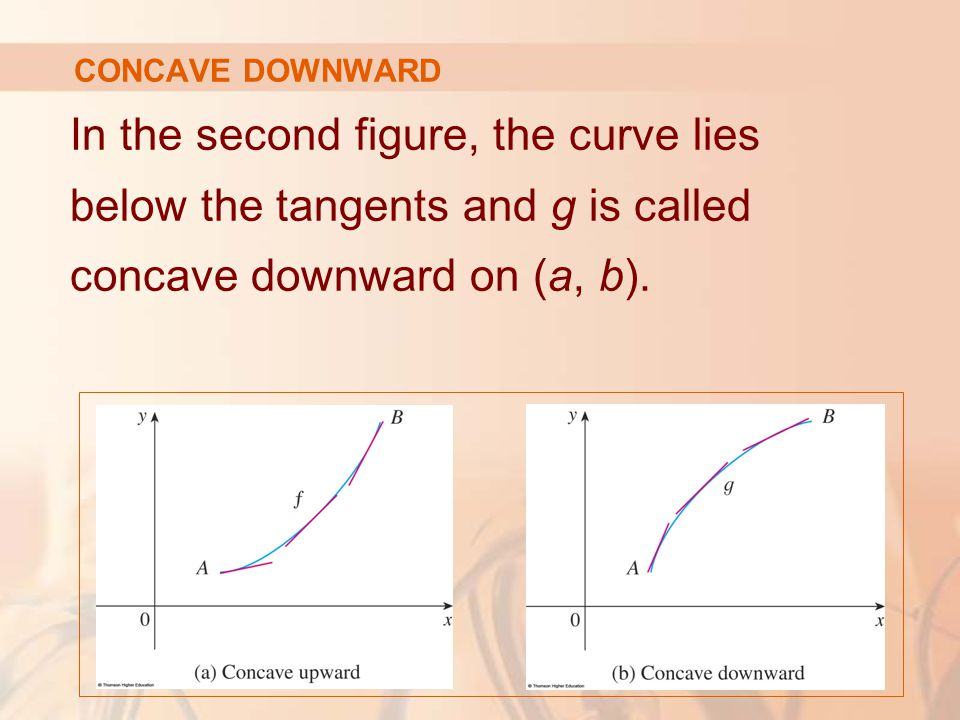 In the second figure, the curve lies below the tangents and g is called concave downward on (a, b). CONCAVE DOWNWARD