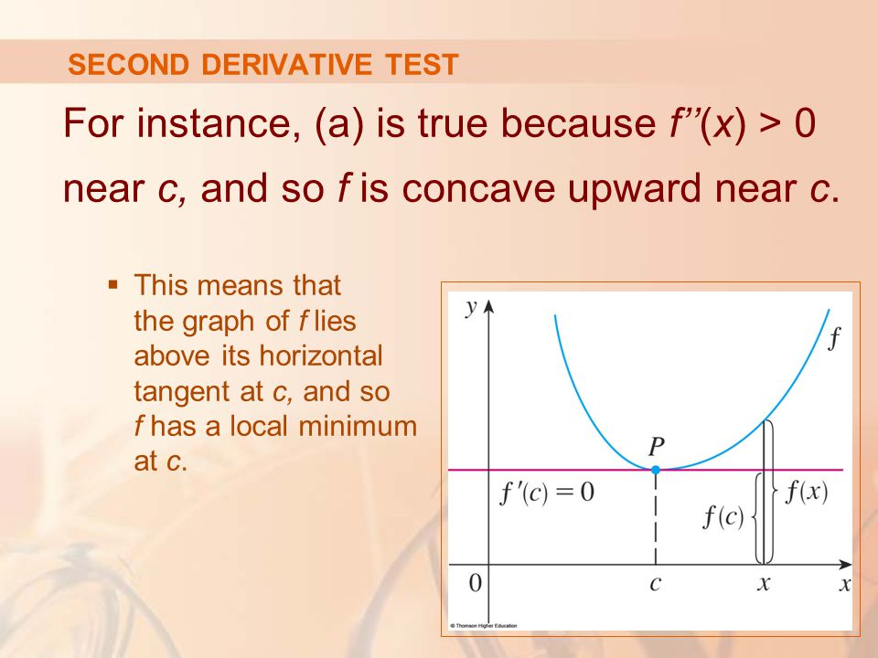 SECOND DERIVATIVE TEST For instance, (a) is true because f''(x) > 0 near c, and so f is concave upward near c.  This means that the graph of f lies a