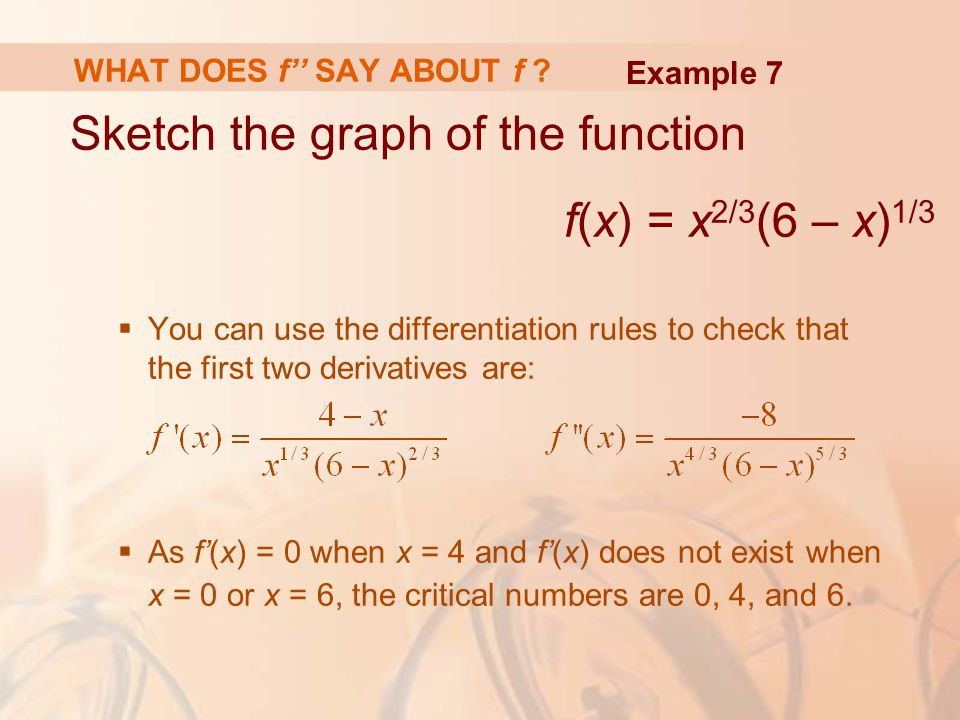 Sketch the graph of the function f(x) = x 2/3 (6 – x) 1/3  You can use the differentiation rules to check that the first two derivatives are:  As f'