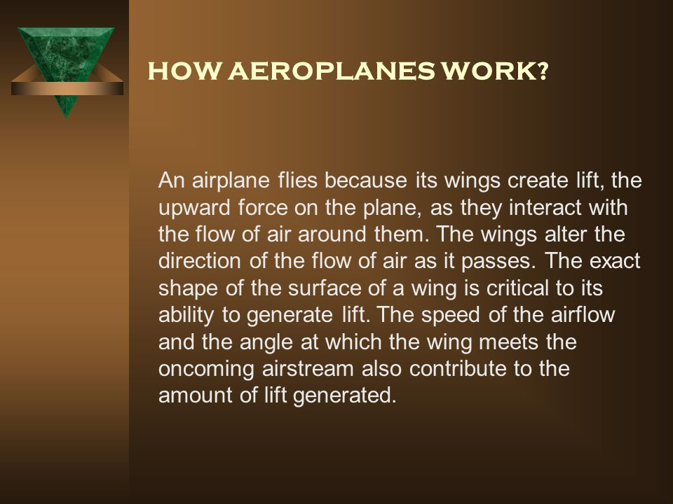 HOW AEROPLANES WORK.
