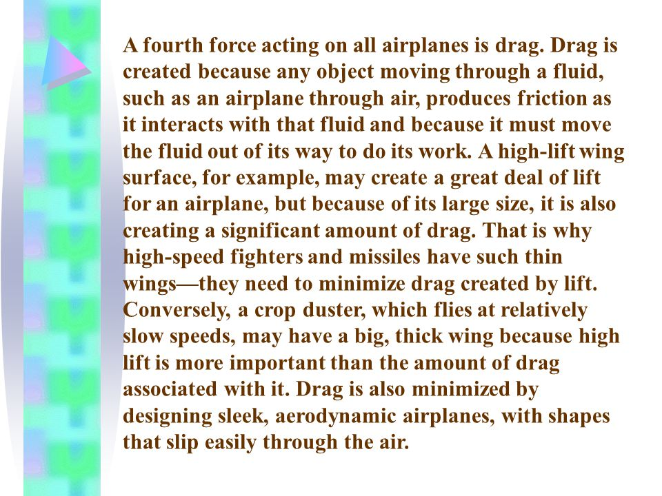 A fourth force acting on all airplanes is drag.