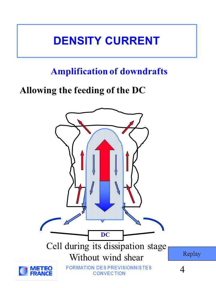 4 FORMATION DES PREVISIONNISTES CONVECTION DC Amplification of downdrafts Allowing the feeding of the DC Replay Cell during its dissipation stage Without wind shear DENSITY CURRENT