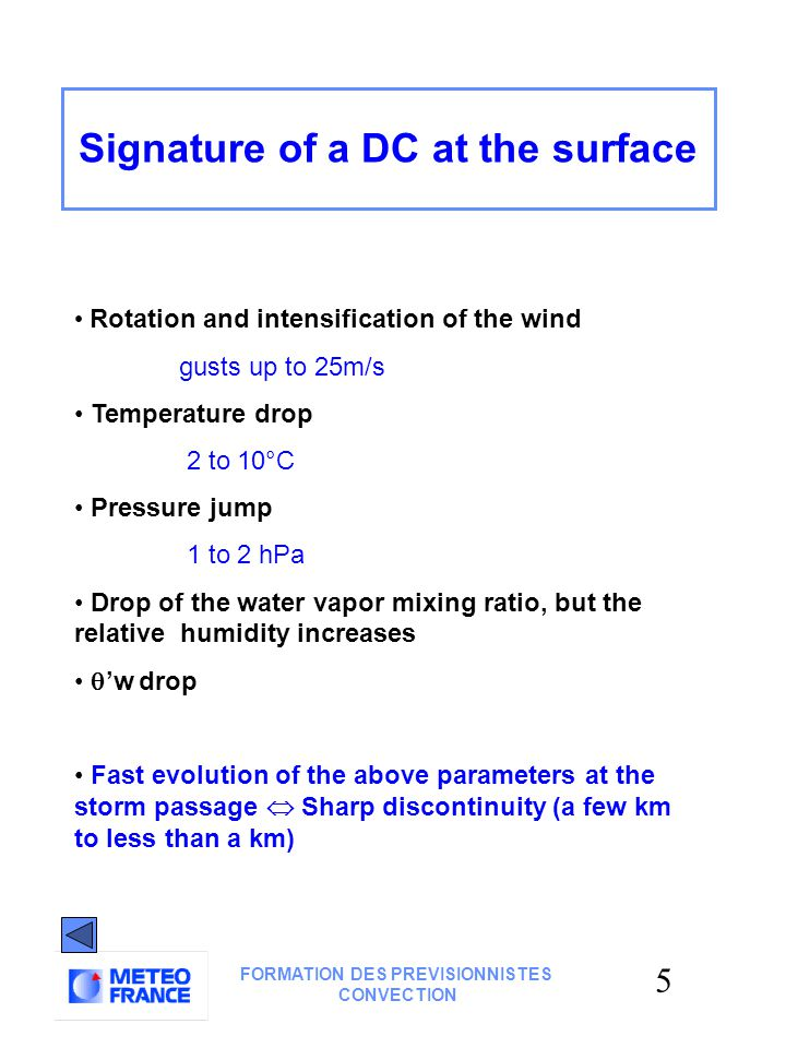 25 FORMATION DES PREVISIONNISTES CONVECTION SITUATION for 10 Dec 2000 Identification of a dry air area Water vapor imagery (darker areas) Minimum of  ' w (vertical sounding) Vertical cross-section(ARPEGE 12H)