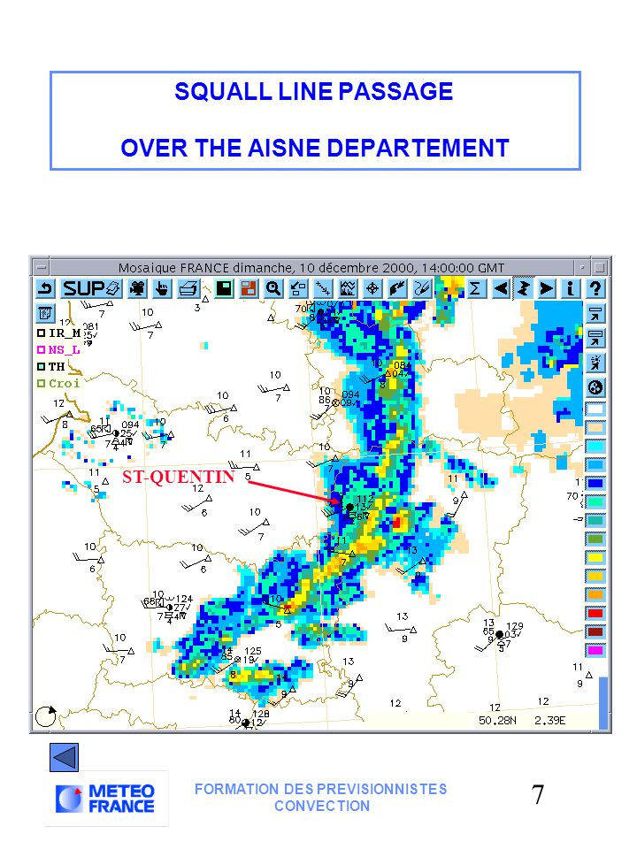 6 FORMATION DES PREVISIONNISTES CONVECTION SQUALL LINE PASSAGE RADAR ANIMATION 10 dec.