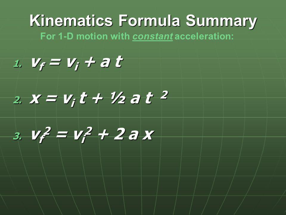 For the 3 rd kinematics equation: v f = v i + a t  t = (v f – v i ) / a  x = v i t + ½ a t 2   x = v i [(v f – v i ) / a ] + a [(v f – v i ) / a ] 2  v f 2 – v i 2 = 2 a  x  v f 2 = v i 2 + 2ax Most of the time, x i will be 0.