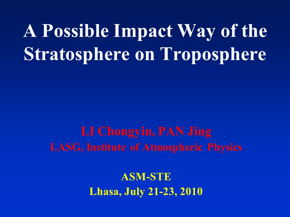 I.Introduction Interaction between the stratosphere and troposphere (a hypothesis) Mid-Lati.