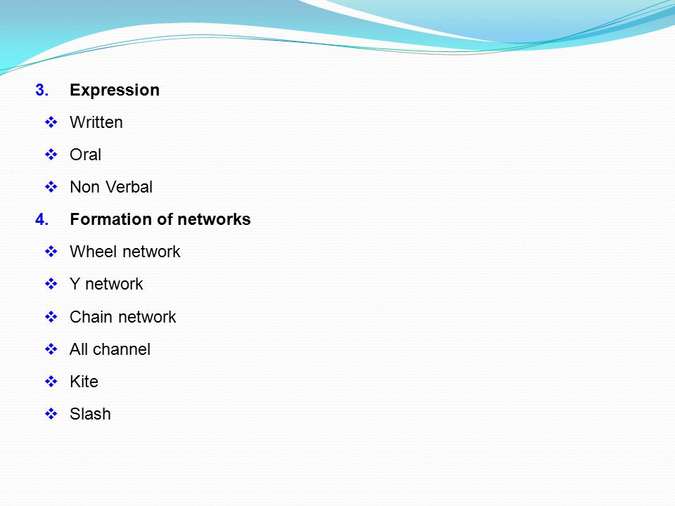 3. Expression  Written  Oral  Non Verbal 4. Formation of networks  Wheel network  Y network  Chain network  All channel  Kite  Slash