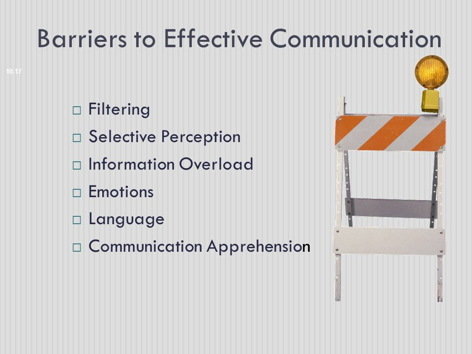 Barriers to Effective Communication 10-17  Filtering  Selective Perception  Information Overload  Emotions  Language  Communication Apprehension