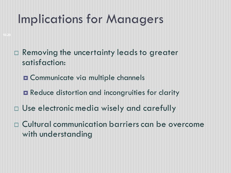 Implications for Managers 10-20  Removing the uncertainty leads to greater satisfaction:  Communicate via multiple channels  Reduce distortion and incongruities for clarity  Use electronic media wisely and carefully  Cultural communication barriers can be overcome with understanding