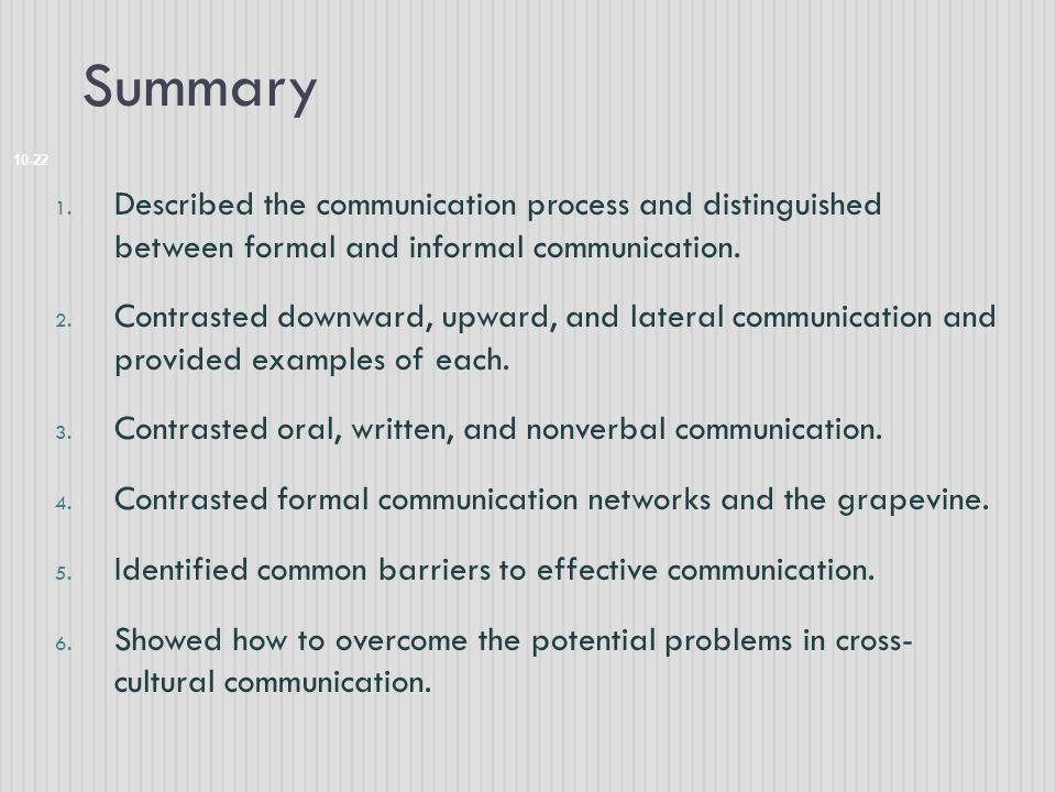 Summary 10-22 1. Described the communication process and distinguished between formal and informal communication. 2. Contrasted downward, upward, and