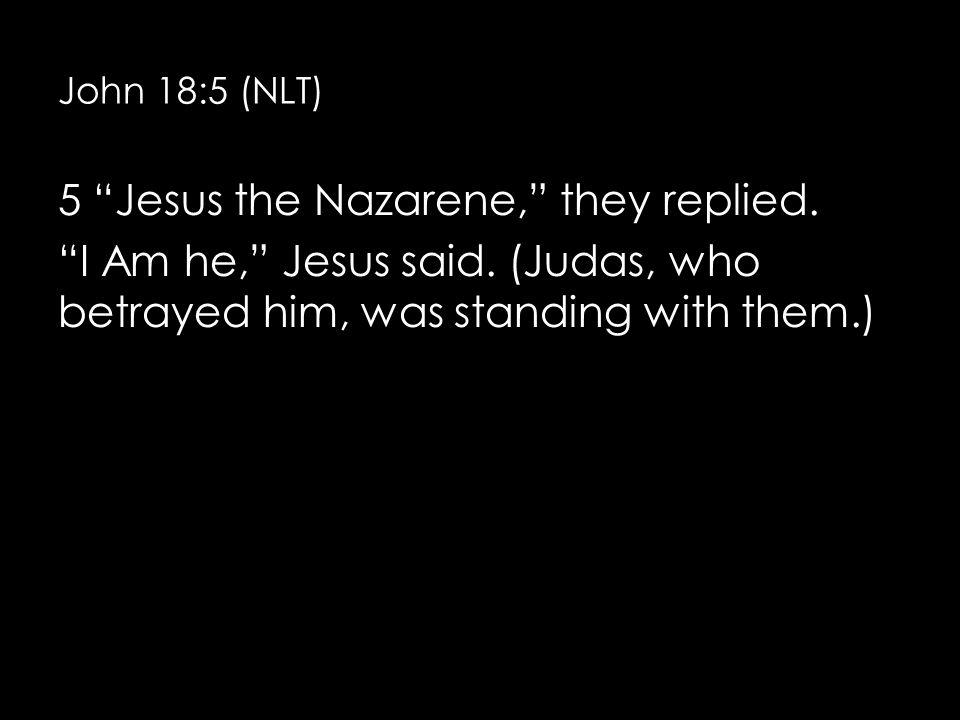 John 18:5 (NLT) 5 Jesus the Nazarene, they replied.