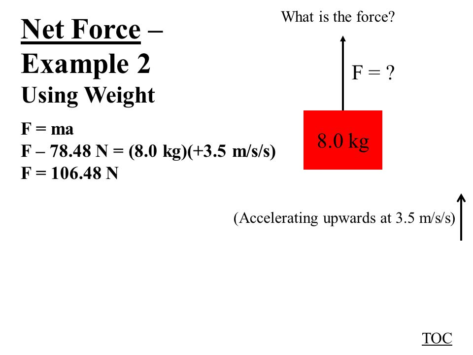 Net Force – Example 2 Using Weight F = ma F – 78.48 N = (8.0 kg)(+3.5 m/s/s) F = 106.48 N TOC 8.0 kg F = .