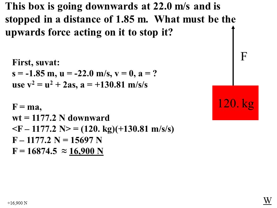 +16,900 N W 120. kg F First, suvat: s = -1.85 m, u = -22.0 m/s, v = 0, a = ? use v 2 = u 2 + 2as, a = +130.81 m/s/s F = ma, wt = 1177.2 N downward = (