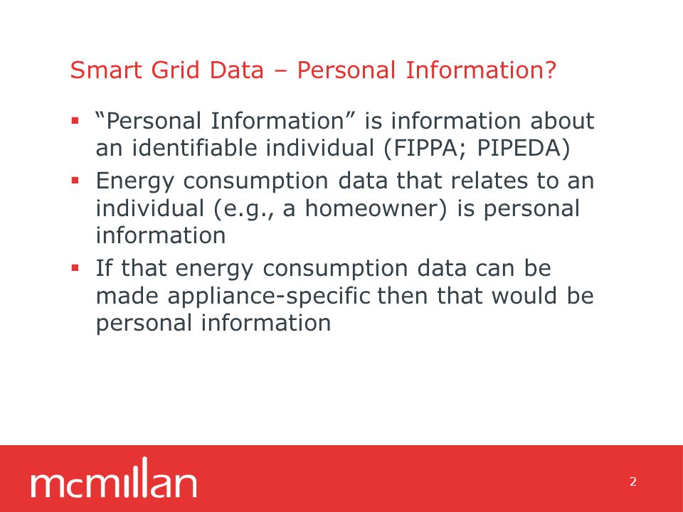 Smart Grid Data – Personal Information.