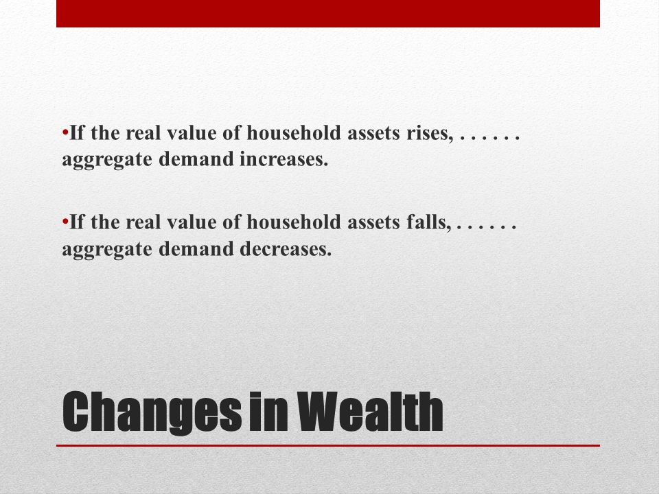 Changes in Wealth If the real value of household assets rises,...... aggregate demand increases. If the real value of household assets falls,...... ag