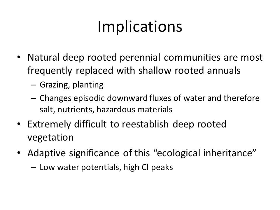 Implications Natural deep rooted perennial communities are most frequently replaced with shallow rooted annuals – Grazing, planting – Changes episodic
