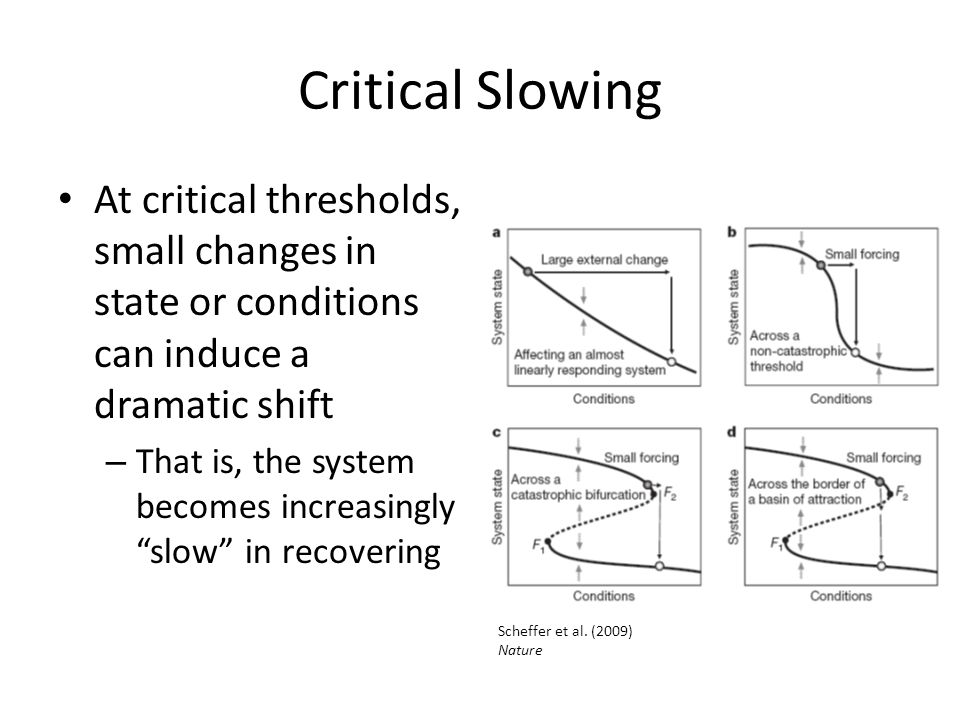 """Critical Slowing At critical thresholds, small changes in state or conditions can induce a dramatic shift – That is, the system becomes increasingly """""""