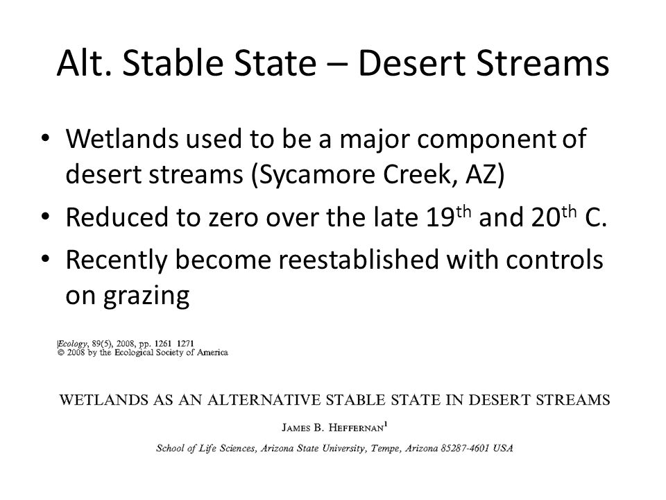 Alt. Stable State – Desert Streams Wetlands used to be a major component of desert streams (Sycamore Creek, AZ) Reduced to zero over the late 19 th an