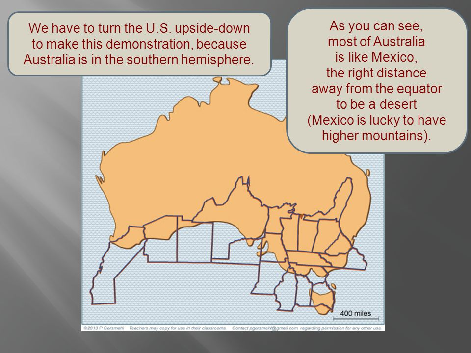 We have to turn the U.S. upside-down to make this demonstration, because Australia is in the southern hemisphere. As you can see, most of Australia is