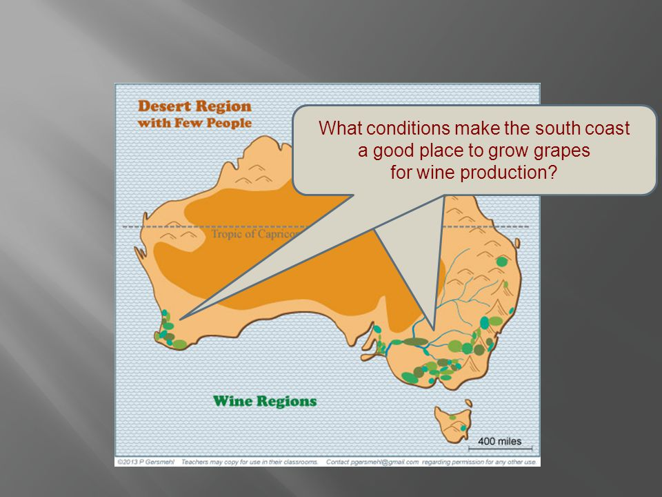 Still later, Australians learned that they could sell high-quality wine from grapes grown near the south coast. What conditions make the south coast a