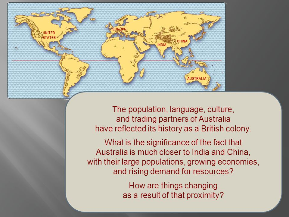 The population, language, culture, and trading partners of Australia have reflected its history as a British colony. What is the significance of the f