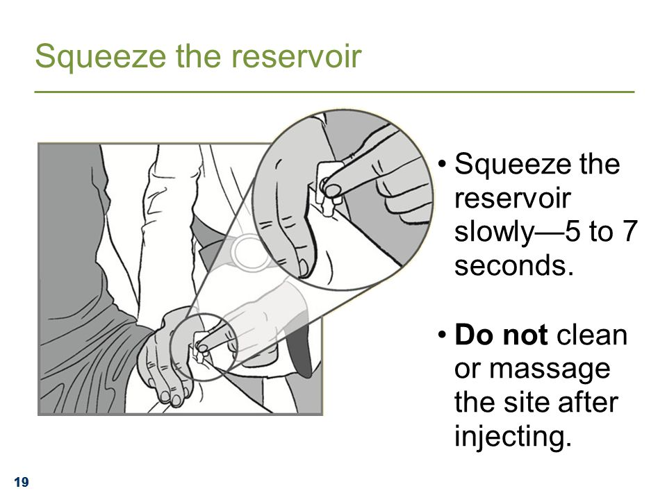 19 Squeeze the reservoir slowly—5 to 7 seconds. Do not clean or massage the site after injecting.