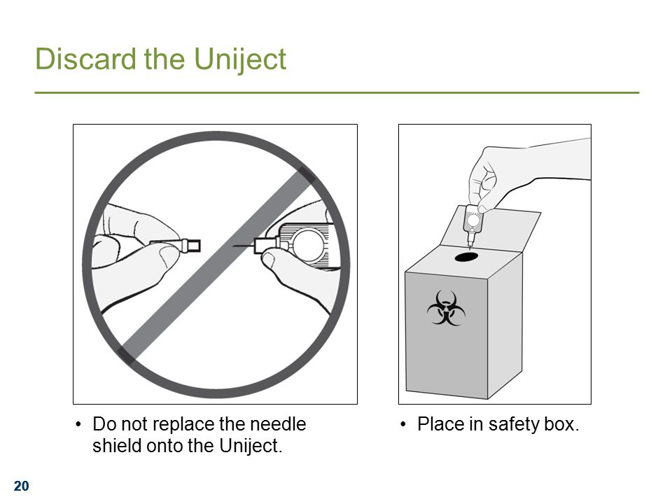 20 Discard the Uniject Do not replace the needle shield onto the Uniject. Place in safety box.