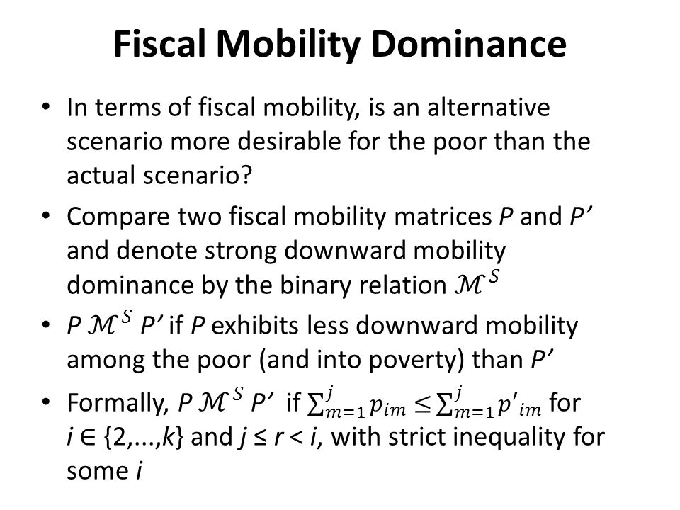 Fiscal Mobility Dominance