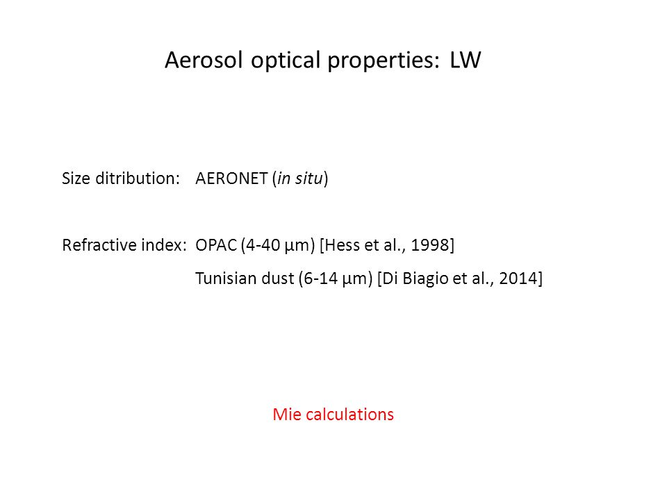 Aerosol optical properties: LW Size ditribution: AERONET (in situ) Refractive index: OPAC (4-40 µm) [Hess et al., 1998] Tunisian dust (6-14 µm) [Di Biagio et al., 2014] Mie calculations