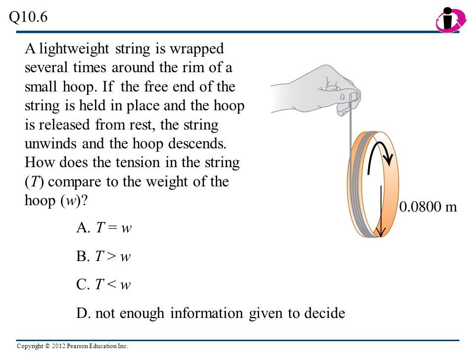 Copyright © 2012 Pearson Education Inc. A lightweight string is wrapped several times around the rim of a small hoop. If the free end of the string is