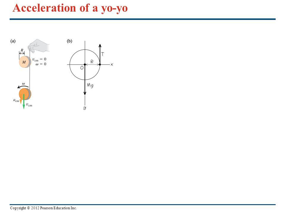 Copyright © 2012 Pearson Education Inc. Acceleration of a yo-yo