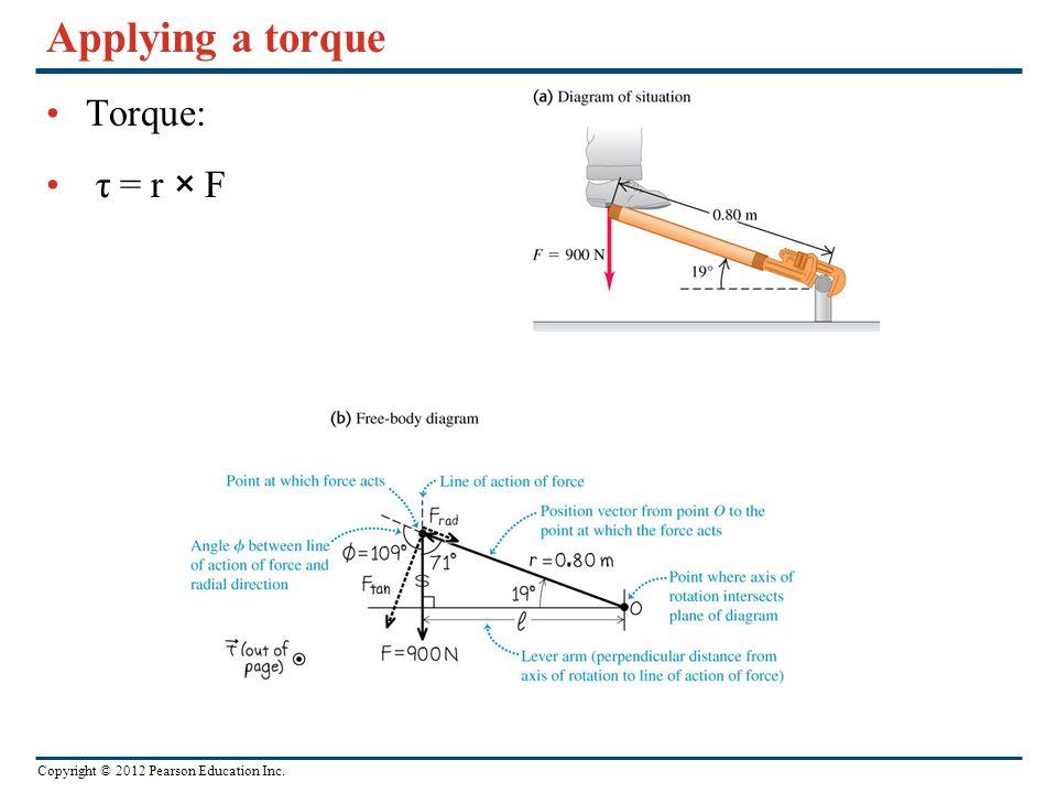 Copyright © 2012 Pearson Education Inc. Applying a torque Torque: τ = r × F