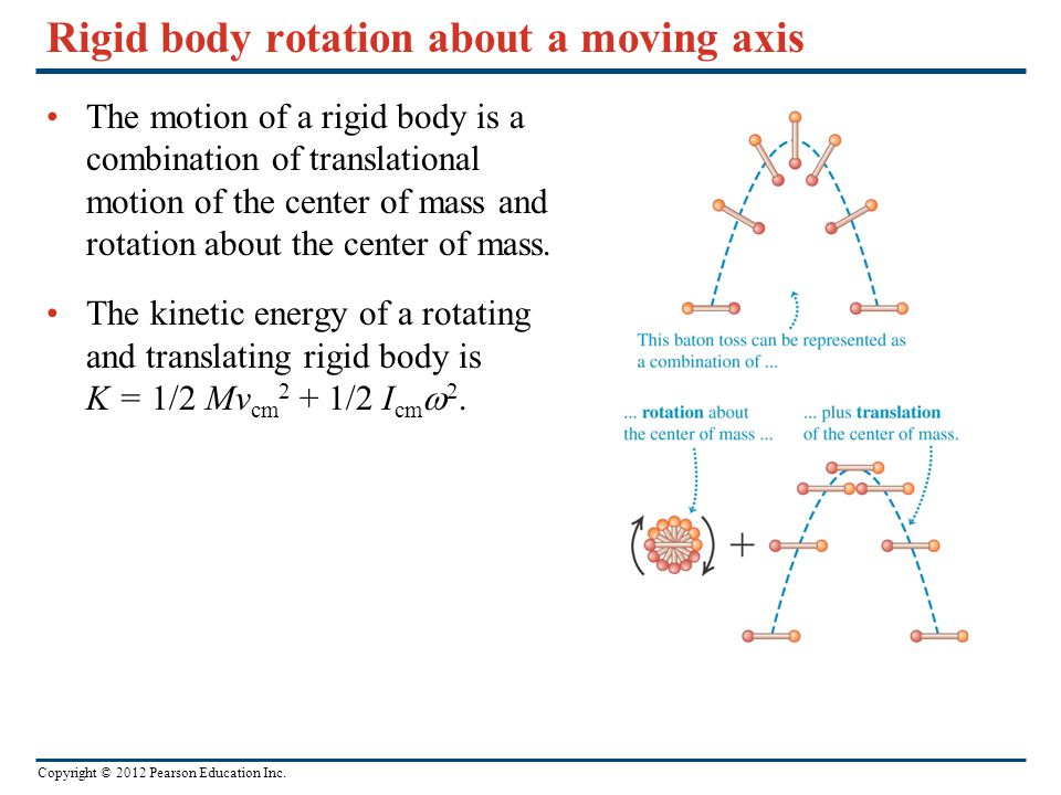 Copyright © 2012 Pearson Education Inc. Rigid body rotation about a moving axis The motion of a rigid body is a combination of translational motion of