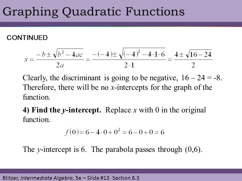 Blitzer, Intermediate Algebra, 5e – Slide #13 Section 8.3 Graphing Quadratic FunctionsCONTINUED Clearly, the discriminant is going to be negative, 16