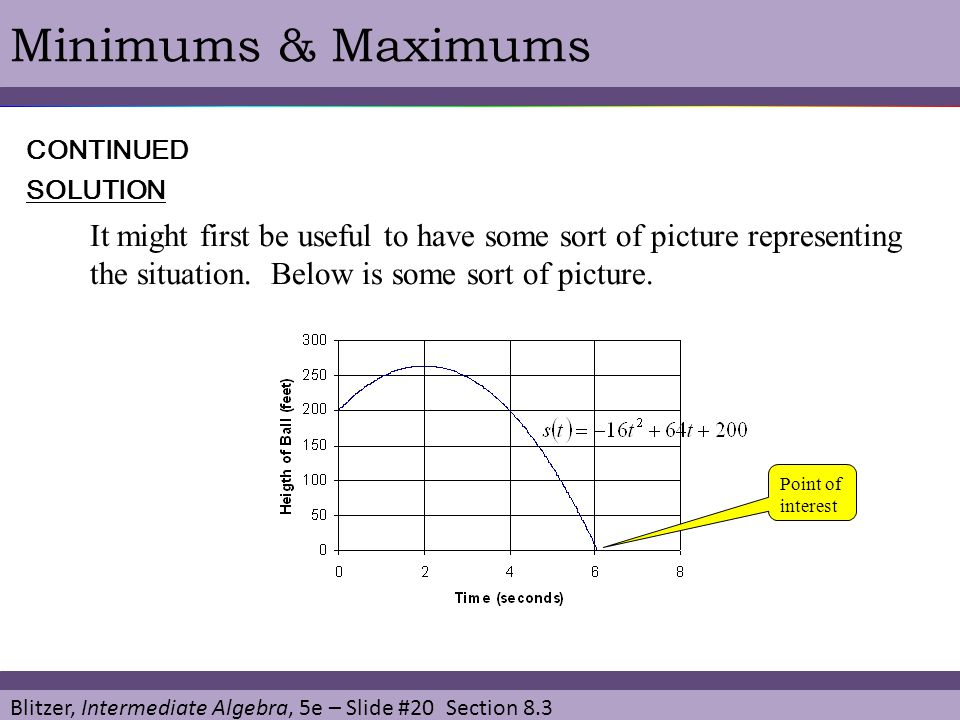 Blitzer, Intermediate Algebra, 5e – Slide #20 Section 8.3 Minimums & MaximumsSOLUTION CONTINUED It might first be useful to have some sort of picture