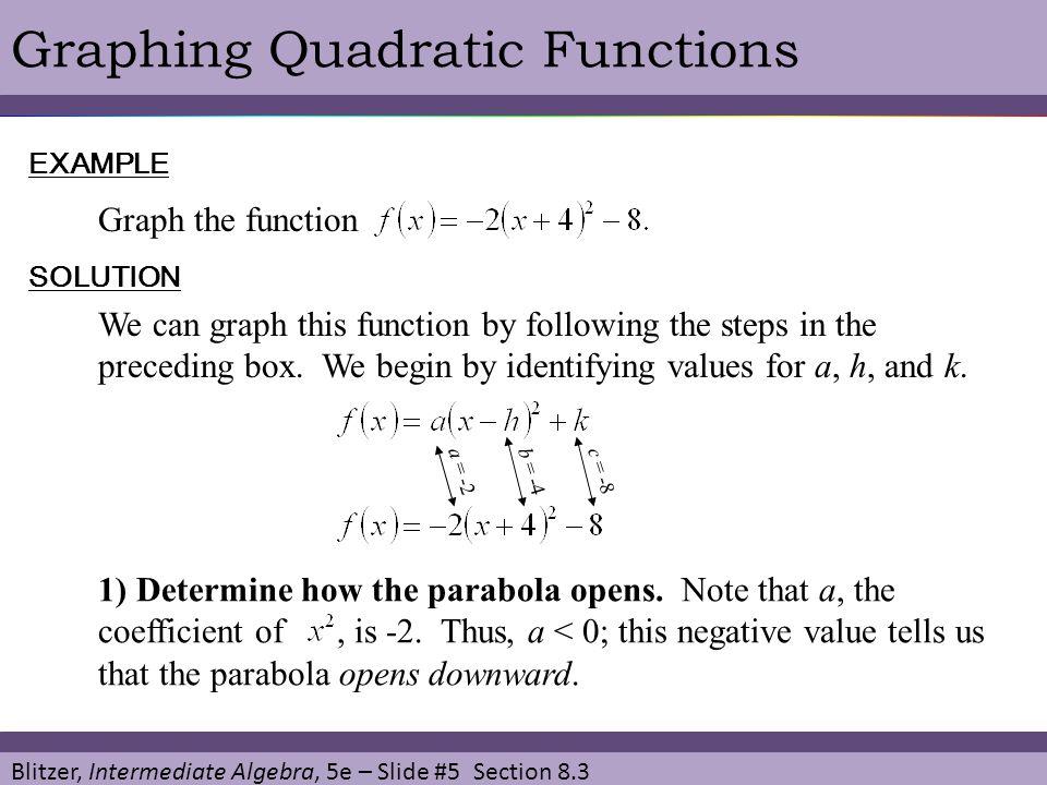 Blitzer, Intermediate Algebra, 5e – Slide #5 Section 8.3 Graphing Quadratic FunctionsEXAMPLE Graph the function SOLUTION We can graph this function by