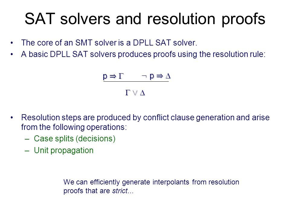 SAT solvers and resolution proofs The core of an SMT solver is a DPLL SAT solver.