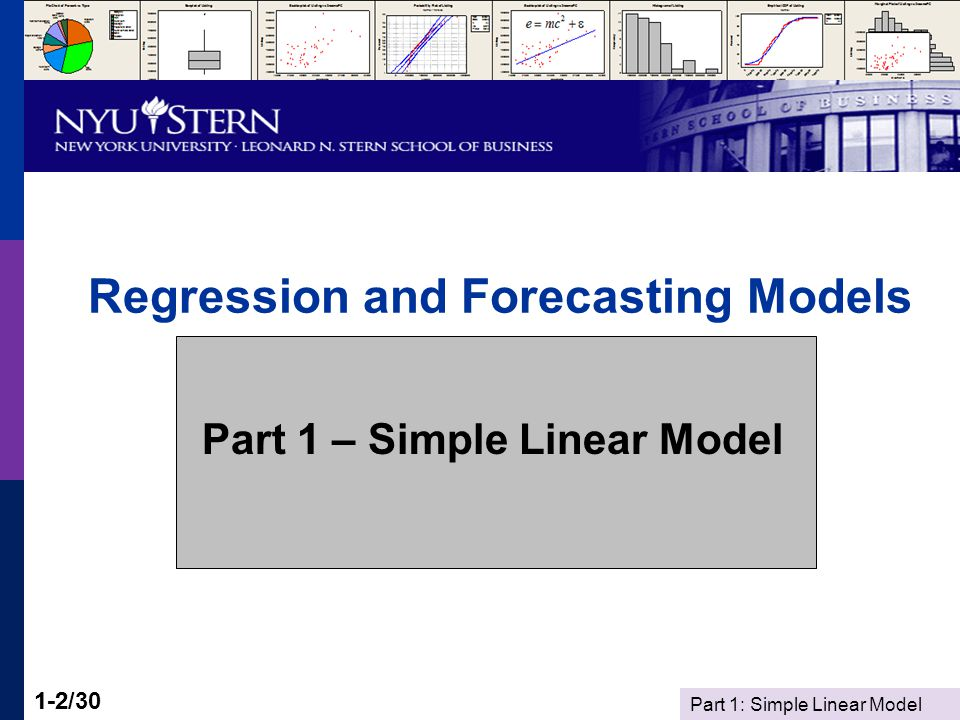 Part 1: Simple Linear Model 1-13/30 The Regression Model y =  0 +  1 x +  y = dependent variable x = independent variable The 'regression' is the deterministic part,  0 +  1 x The 'disturbance' (noise) is .