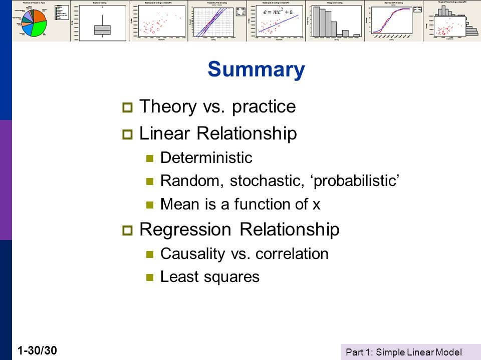 Part 1: Simple Linear Model 1-30/30 Summary  Theory vs. practice  Linear Relationship Deterministic Random, stochastic, 'probabilistic' Mean is a fu