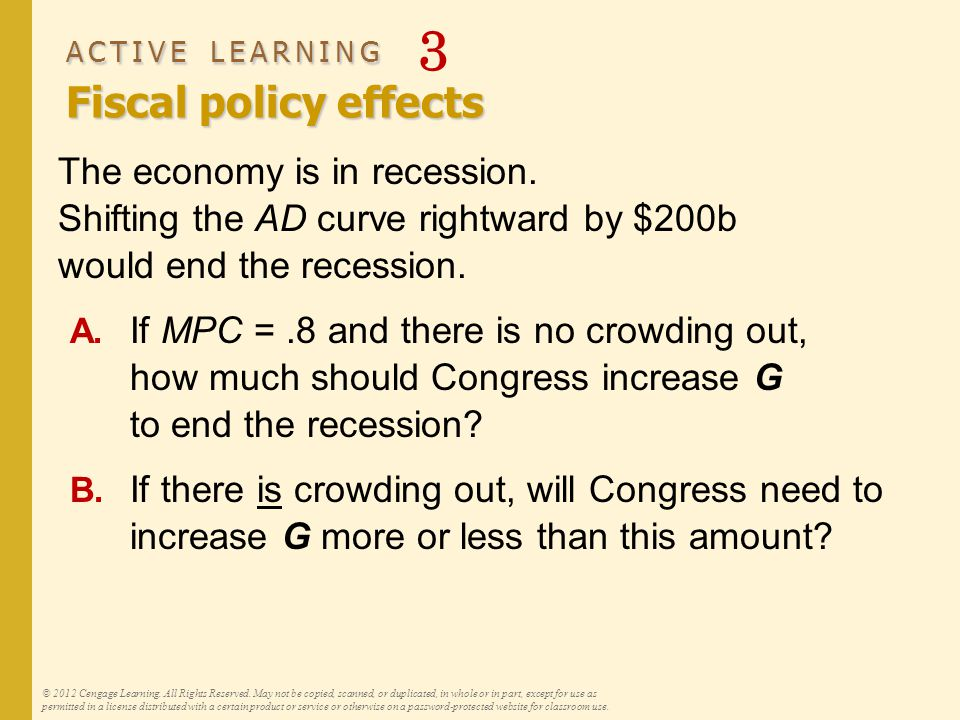 ACTIVE LEARNING Fiscal policy effects ACTIVE LEARNING 3 Fiscal policy effects The economy is in recession. Shifting the AD curve rightward by $200b wo