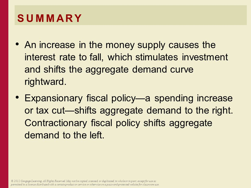 SUMMARY An increase in the money supply causes the interest rate to fall, which stimulates investment and shifts the aggregate demand curve rightward.