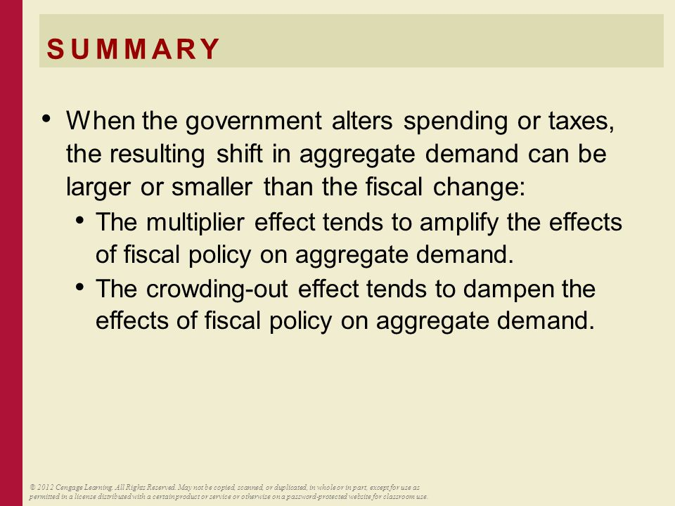 SUMMARY When the government alters spending or taxes, the resulting shift in aggregate demand can be larger or smaller than the fiscal change: The mul