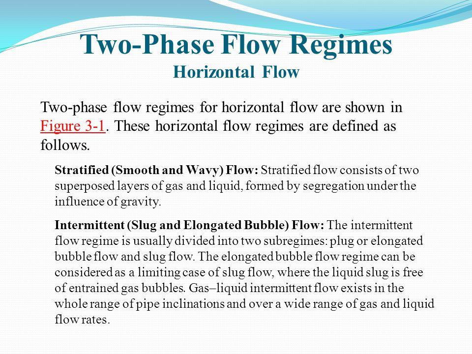 Two-Phase Flow Regimes Horizontal Flow Two-phase flow regimes for horizontal flow are shown in Figure 3-1.