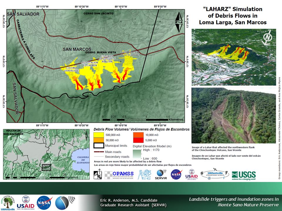 Landslide triggers and inundation zones in Monte Sano Nature Preserve