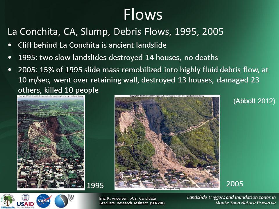 Landslide triggers and inundation zones in Monte Sano Nature Preserve Flows La Conchita, CA, Slump, Debris Flows, 1995, 2005 Cliff behind La Conchita