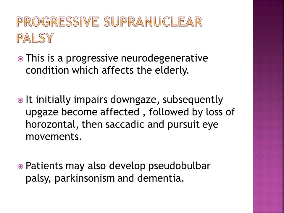  This is a progressive neurodegenerative condition which affects the elderly.
