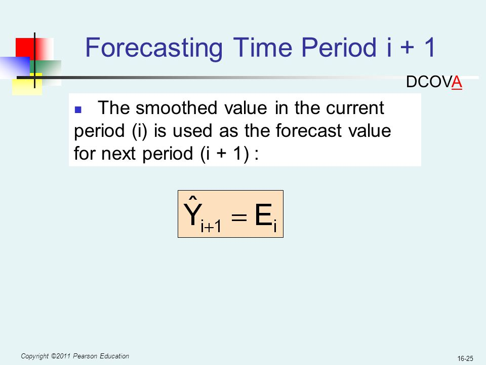 Copyright ©2011 Pearson Education 16-25 Forecasting Time Period i + 1 The smoothed value in the current period (i) is used as the forecast value for n
