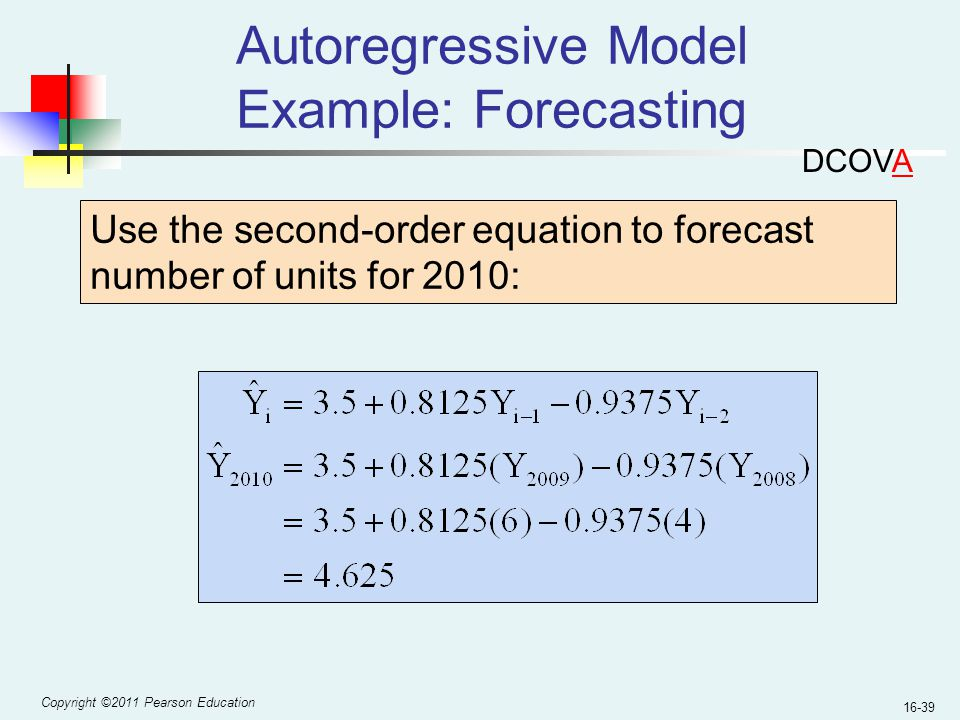 Copyright ©2011 Pearson Education 16-39 Autoregressive Model Example: Forecasting Use the second-order equation to forecast number of units for 2010: