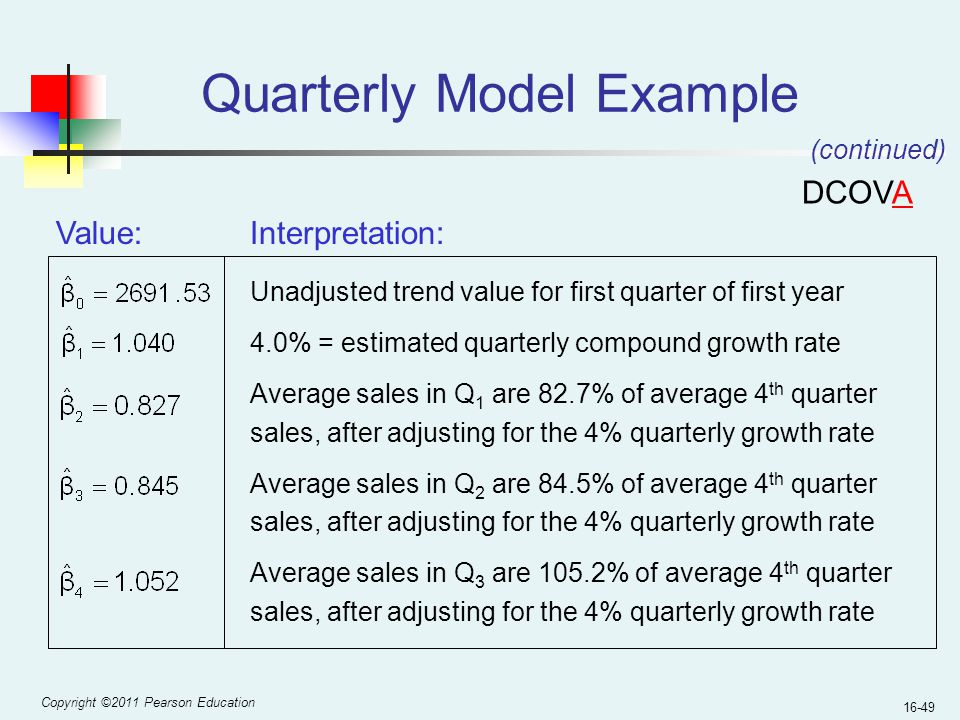 Copyright ©2011 Pearson Education 16-49 Quarterly Model Example Interpretation: Unadjusted trend value for first quarter of first year 4.0% = estimate
