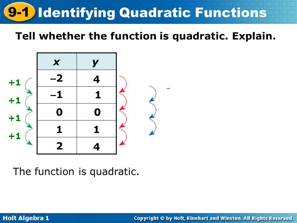 Holt Algebra 1 9-1 Identifying Quadratic Functions Tell whether the function is quadratic. Explain. The function is quadratic. The second differences